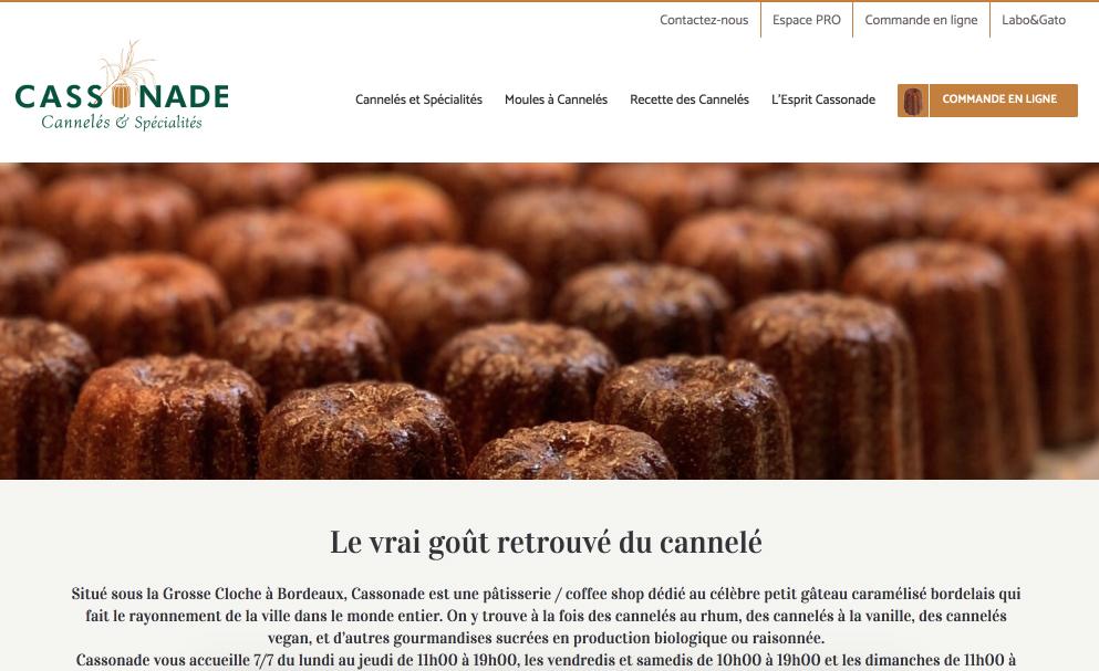 creation site web, bordeaux, cassonade - page accueil